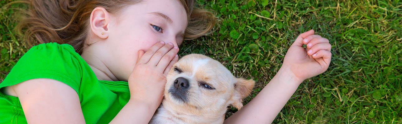 Girl lying in the grass whispering to small dog